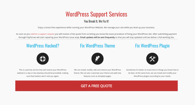 WordPress Support Services Fix My WP