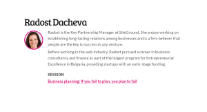 Business planning If you fail to plan, you plan to fail by Radost Dacheva