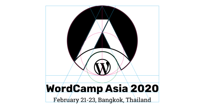 The proportion grid of Logomark and Logotype #WCAsia also follows the Golden Ratio