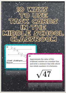 10 Ways to Use Task Cards in the Middle School Classroom- easy to implement strategies for math task cards.