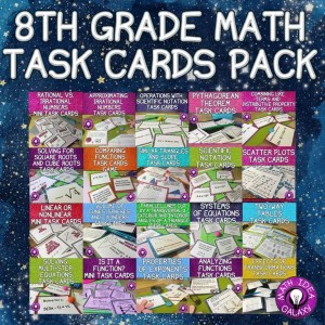 Complete 8th grade task card pack. Task cards are a great tool to bump up the engagement in the math classroom!