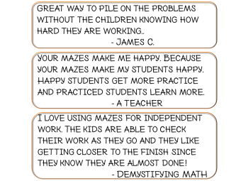 Math Maze Game Review Practice