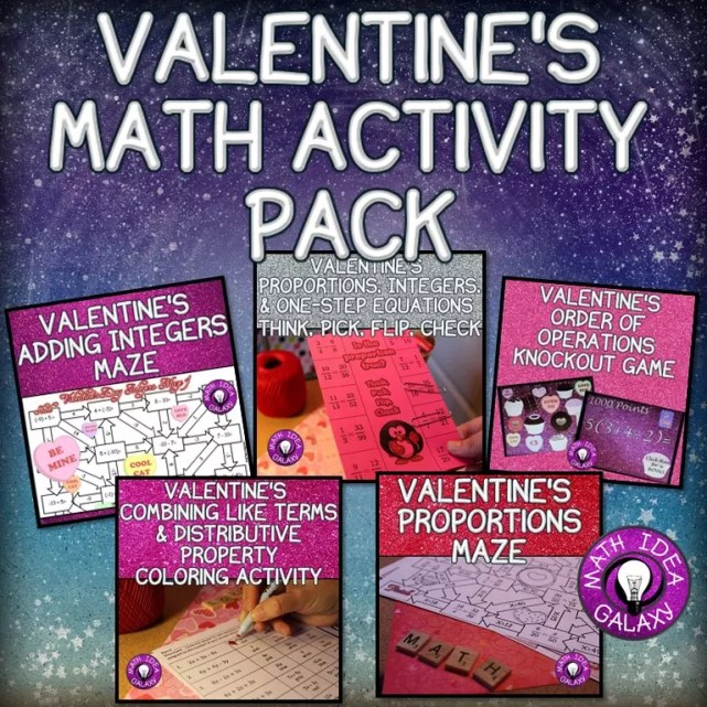Ideas and resources for Valentine's Day fun in the middle school math classroom.