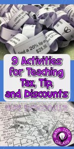 A blog post for activities for teaching tax, tips, and discounts.