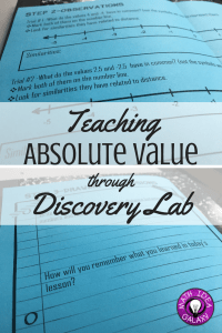 Step by step look at how I got my students to discover absolute value with a discovery lab. Great way to help them build a deeper understanding.