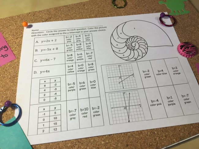 Help students isolate and practice with just identifying the y-intercept with this coloring activity. Check out all 10 comparing functions activities, including FREE practice activity download.