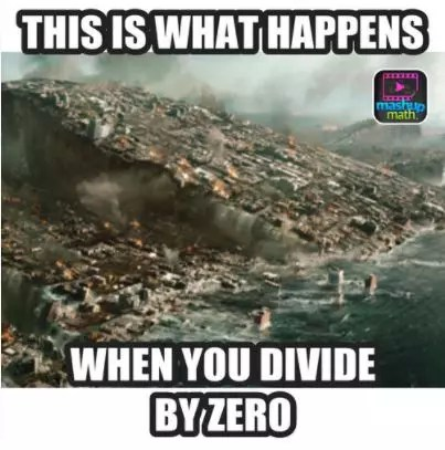 Using memes (like this one from MashUp Math) helps students remember not to divide by zero.