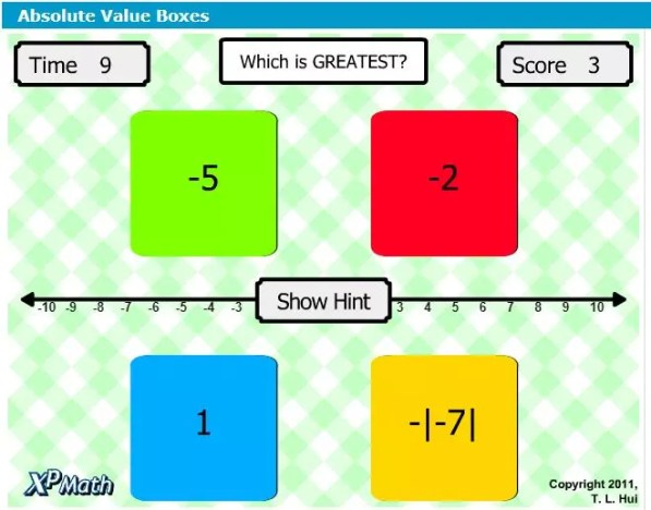 This boxes game is a fun online absolute value game to practice this skill. Great for the 1:1 classroom. Check out all 11 absolute value activity ideas and resources!