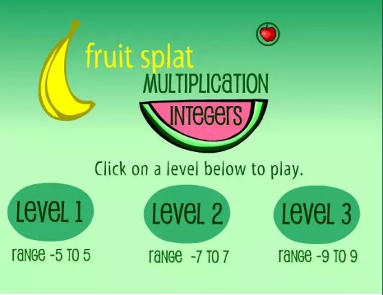 Playing games like this Fruit Splat integers game makes multiplying integers practice fun. Check out all 12 multiplying and dividing integers activity ideas and resources, including FREE download, online resources, and time-saving printables.
