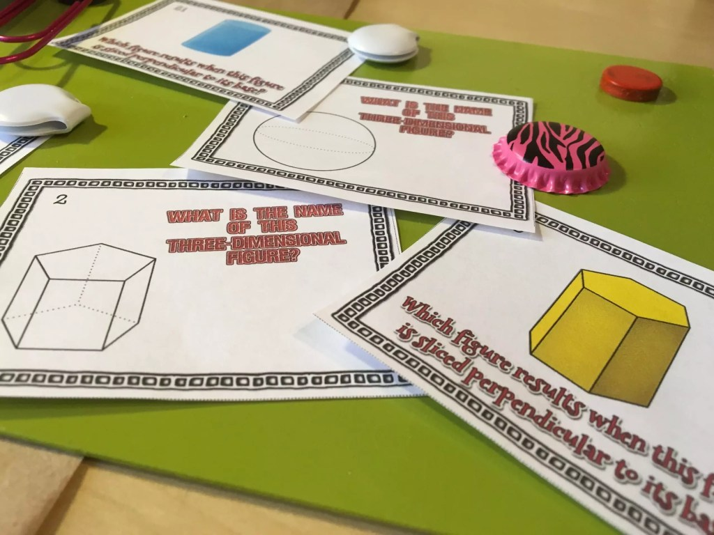 Task cards are a great worksheet alternative to practice with cross sections of 3D shapes. They can be used for math games, stations, and more. Check out all 12 engaging cross sections math activities, including FREE cross sections graphic organizer.