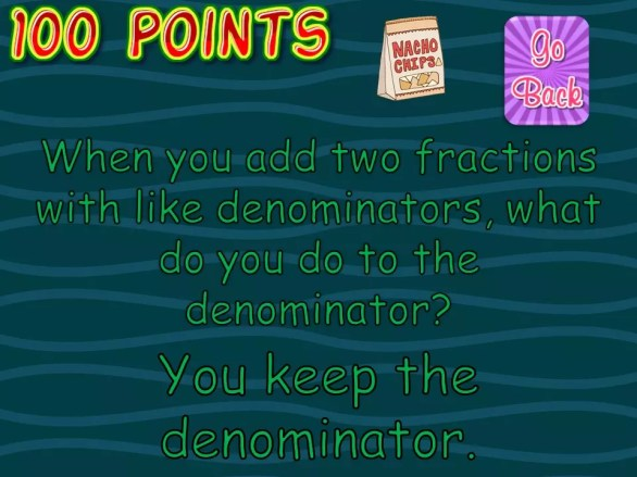 This whole class fractions review game gets students the practice they need adding and subtracting fractions! Check out all 10 adding and subtracting fractions activity ideas for fractions with like denominators.