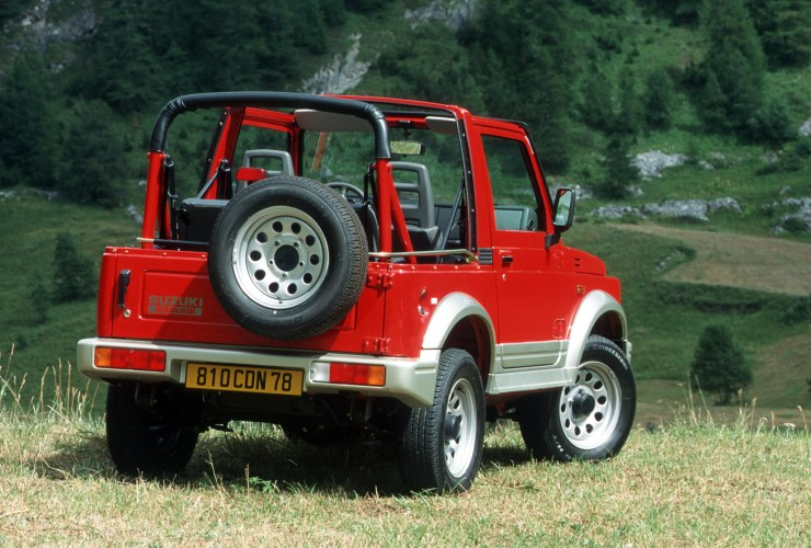 Red Suzuki Samurai off road