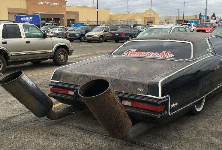massive exhaust on car