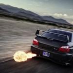 fast car shooting flames
