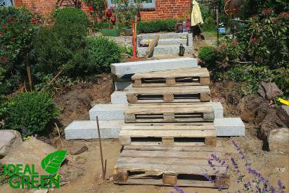 Treppe Granit Weg aus Granitplatten Aufbau
