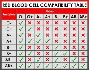 ABO blood group chart