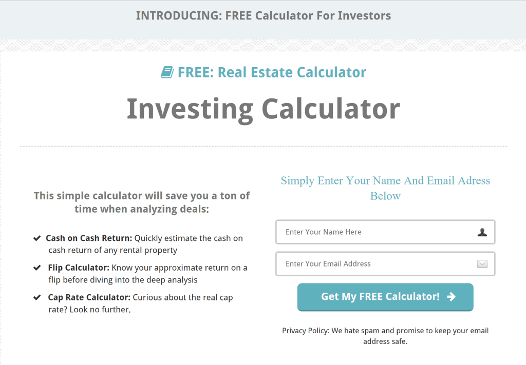 real estate investor squeeze page