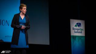 "Cheryl introduces ""Collaborative Creativity through Improv"" to the crowd at DesignOps Summit 2018."