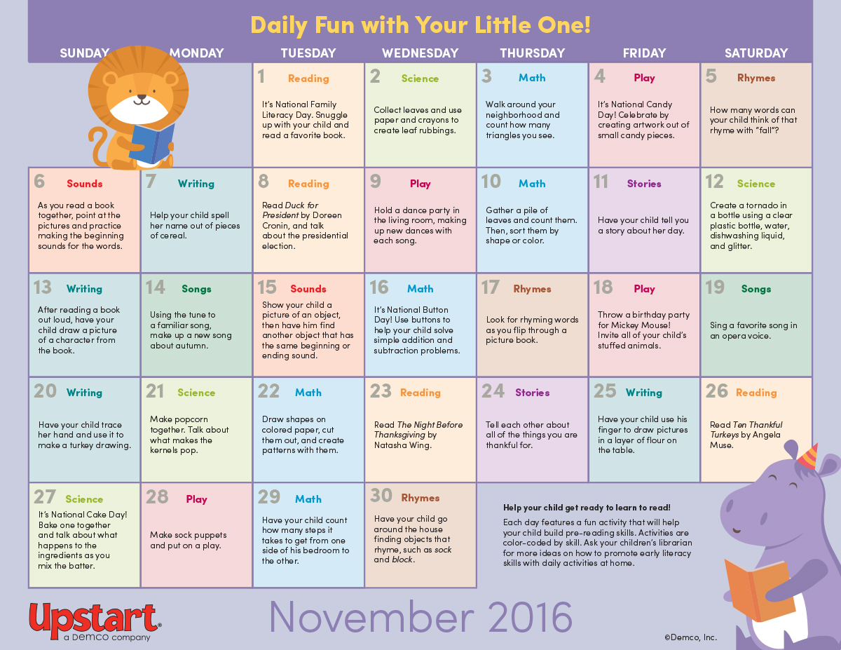 Early Literacy Activity Calendar November