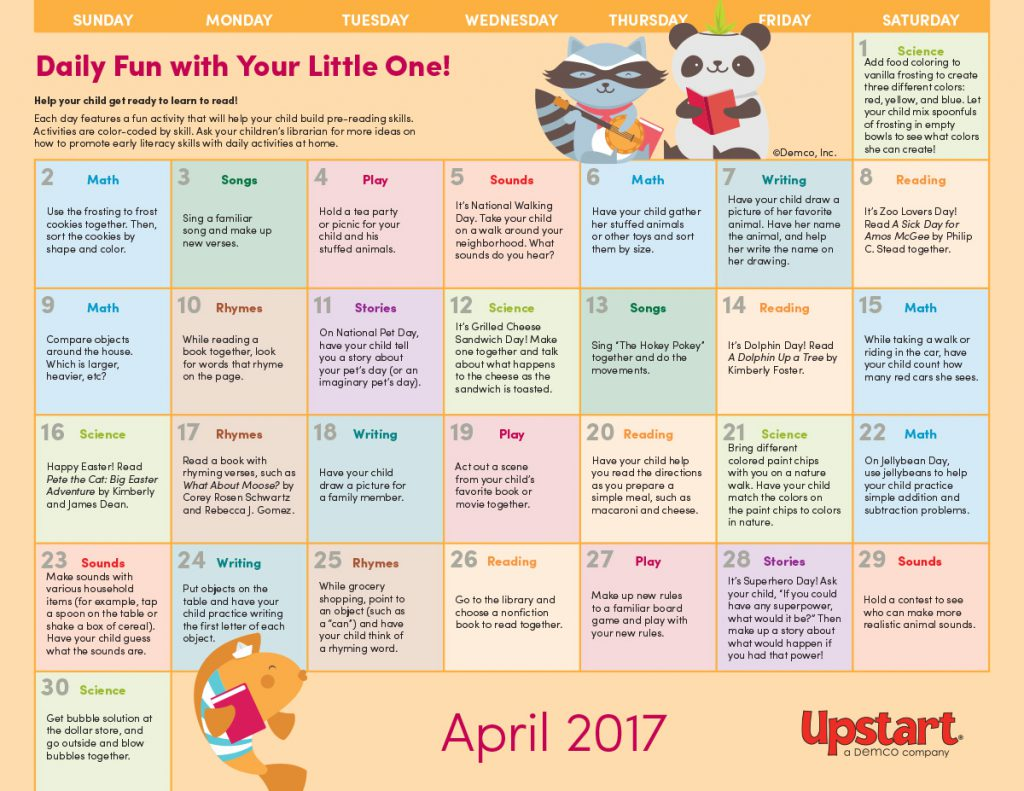 Early Literacy Activity Calendar April
