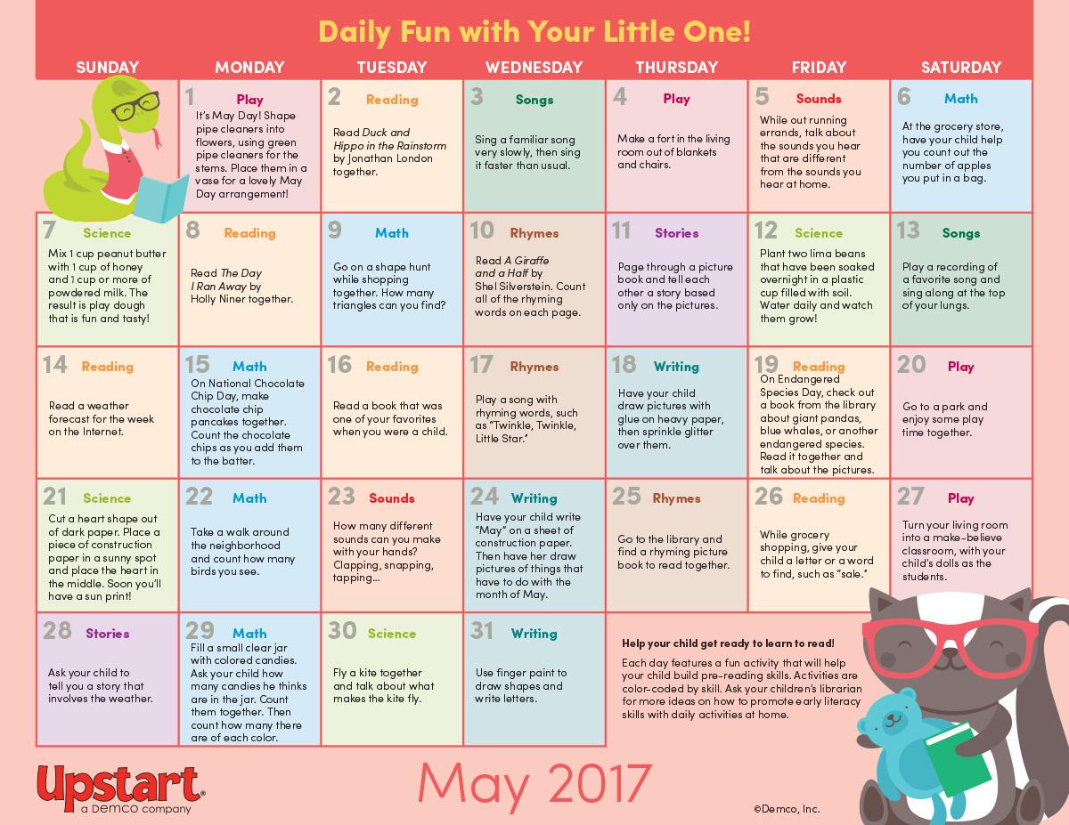 Early Literacy Activity Calendar May