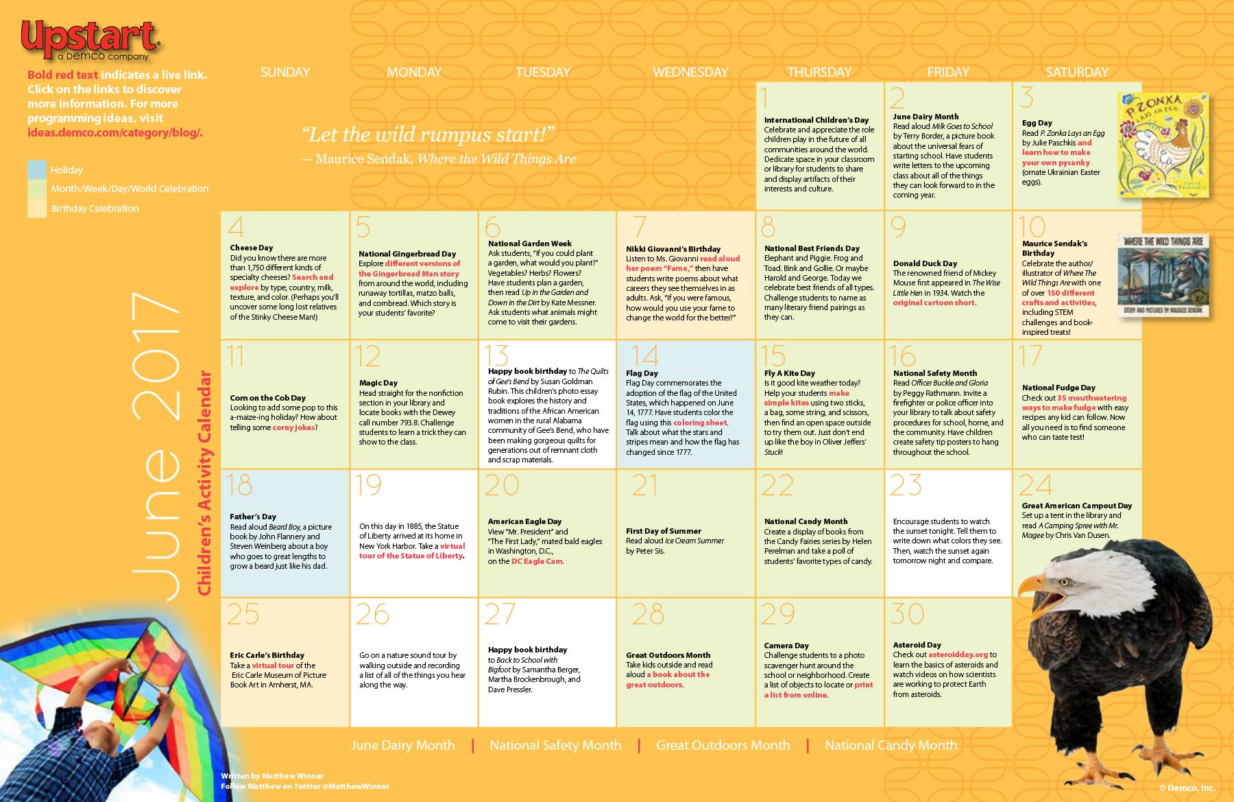 Children S Activity Calendar June