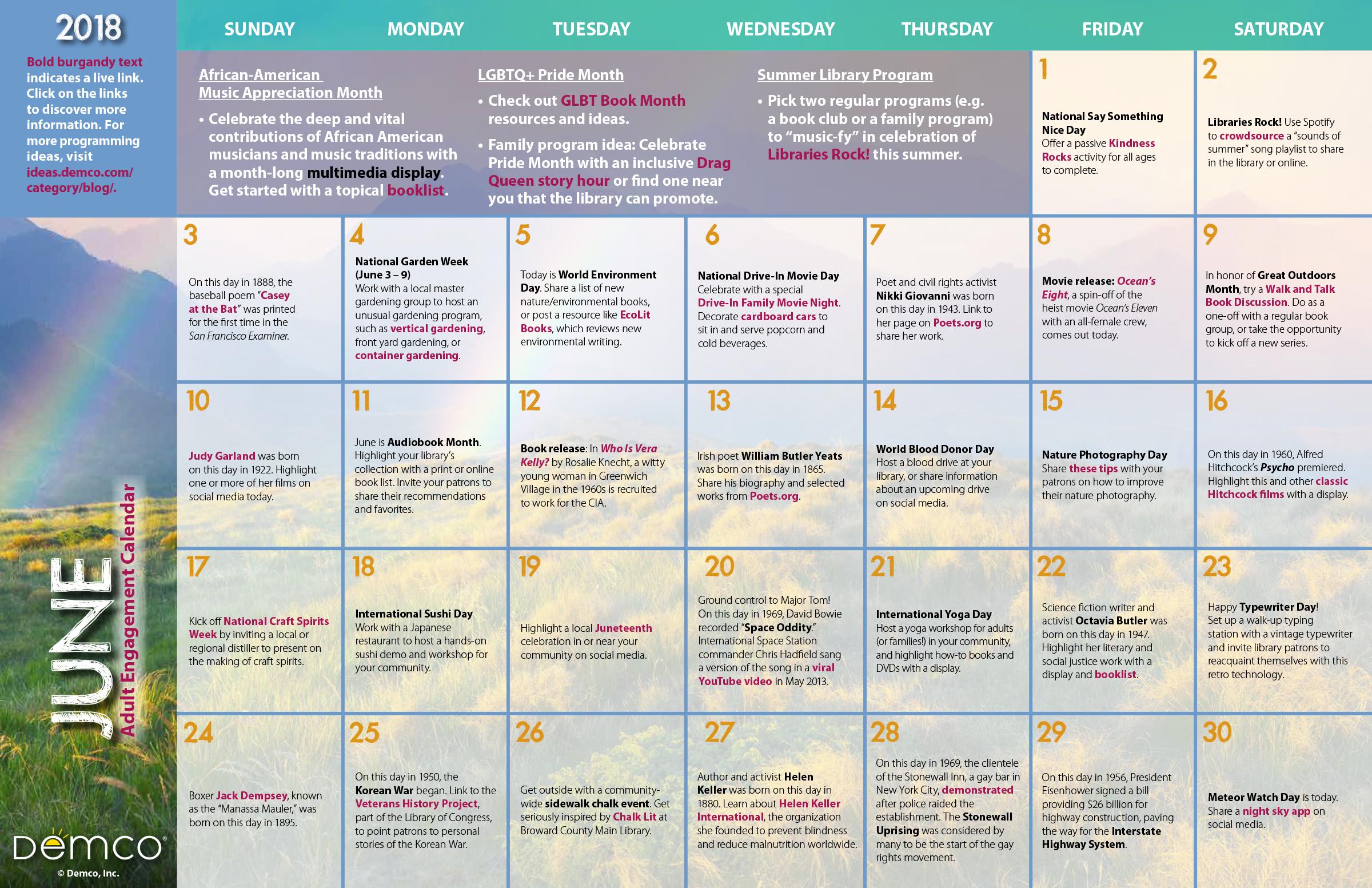 Adult Activity Calendar June
