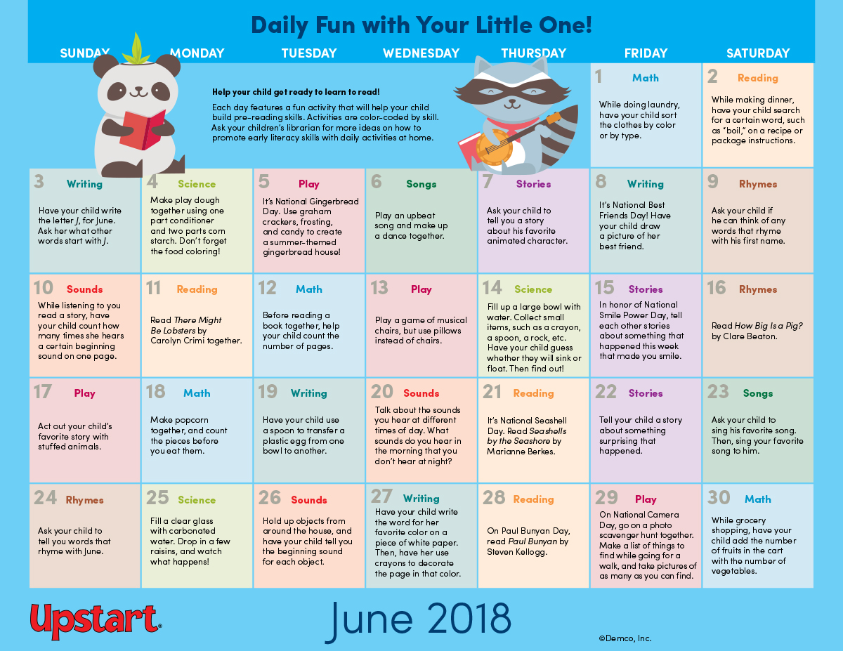 Early Literacy Activities Calendar Boost Pre Reading