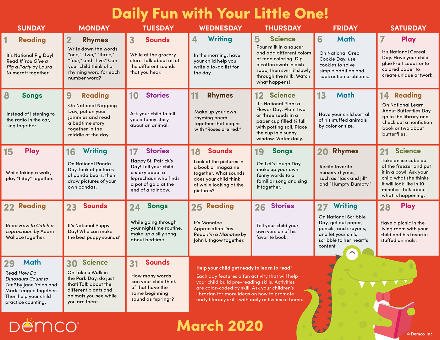 Early Literacy Activities Calendar March