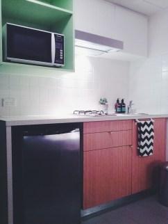 Kitchenette view Unit 911 268 Flinders Street Home@Flinders Melbourne Studio by Ideas Dispenser