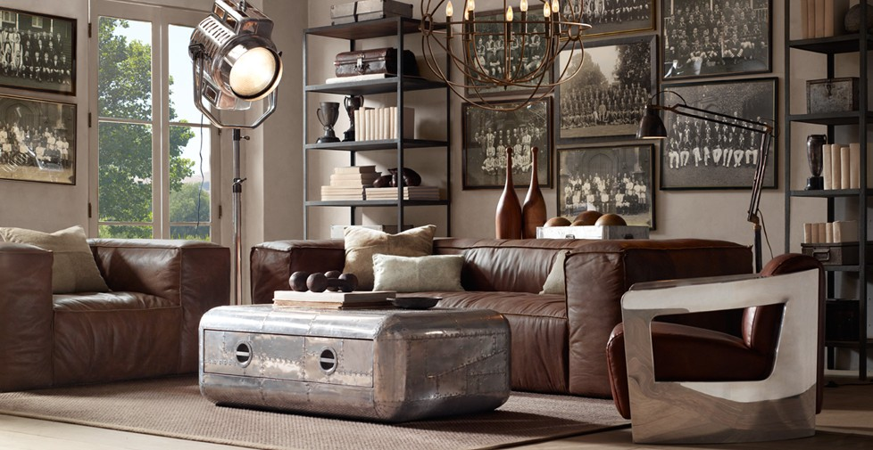 Trunk Coffee Table Leather Sofa