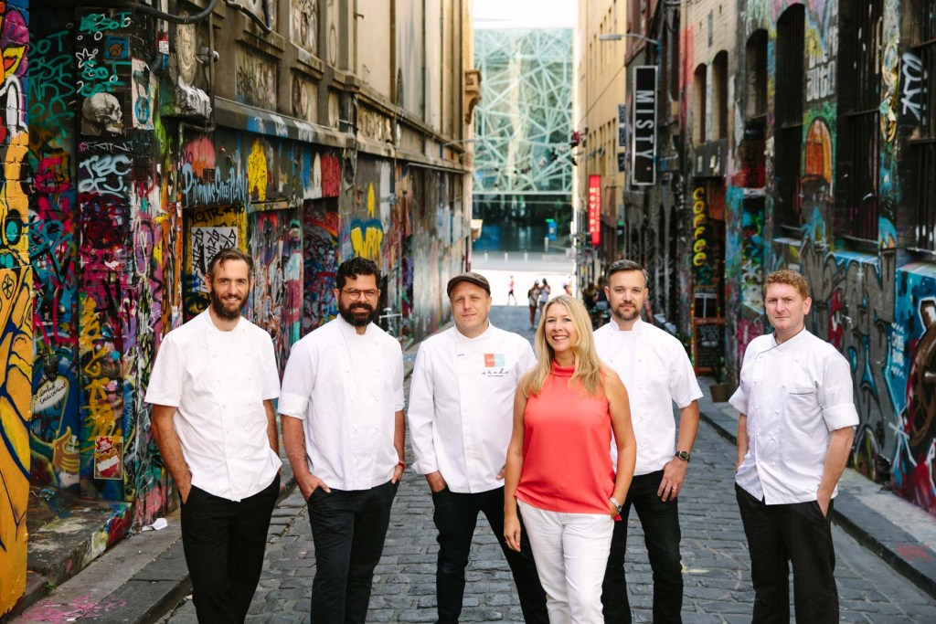 The YUME App founder Katy Barfield, with Melbourne Chefs participating in YUME HOUR