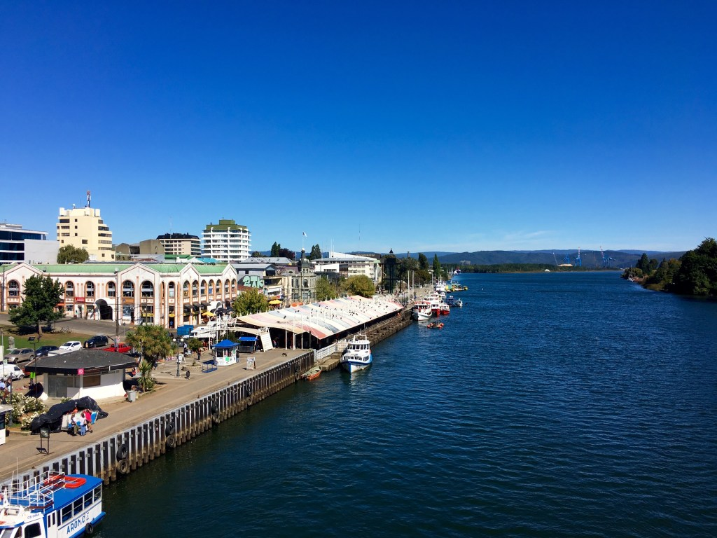 the riverfront in the Southern city of Valdivia