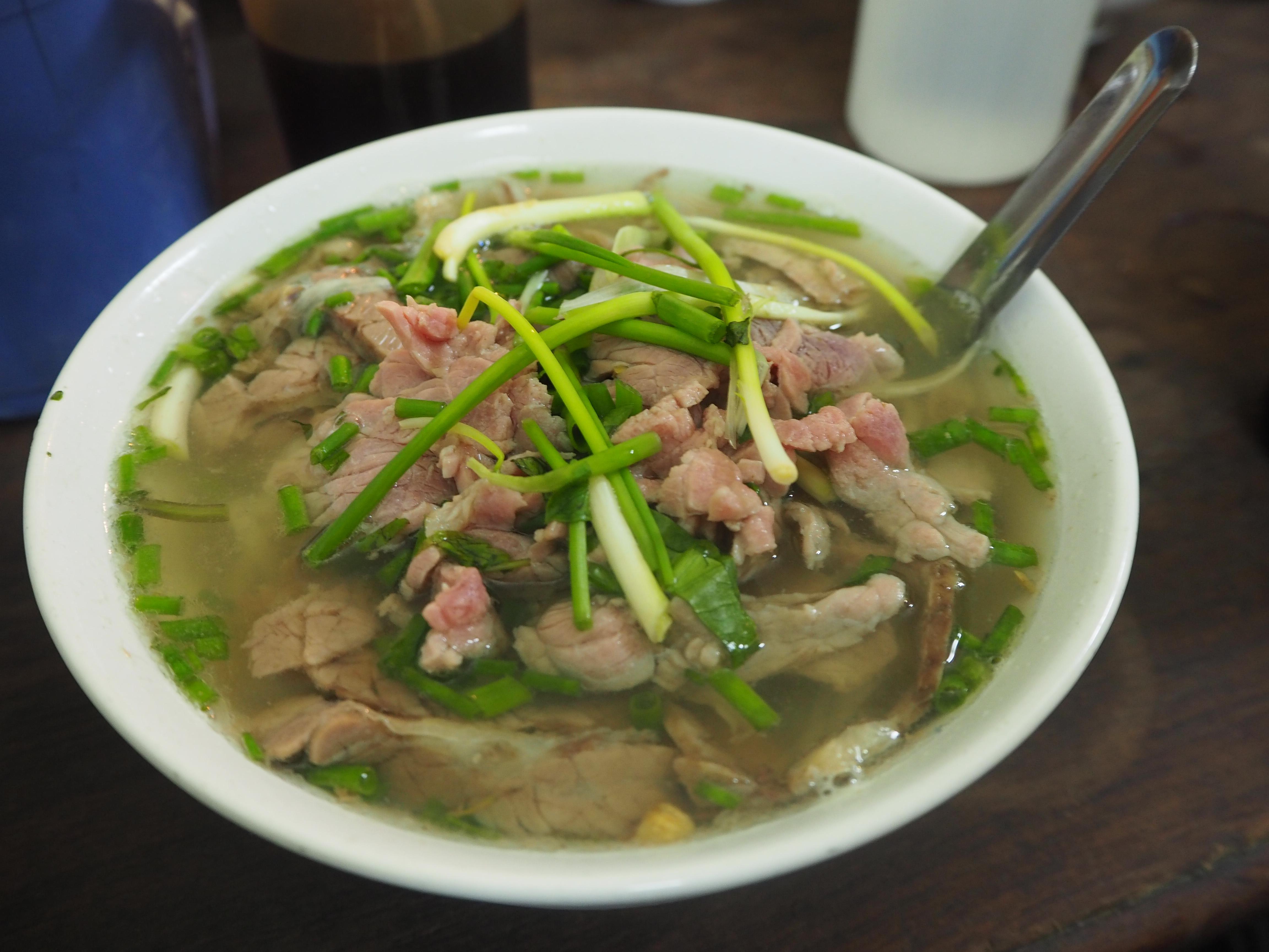 A delicious bowl of pho bo in Hanoi