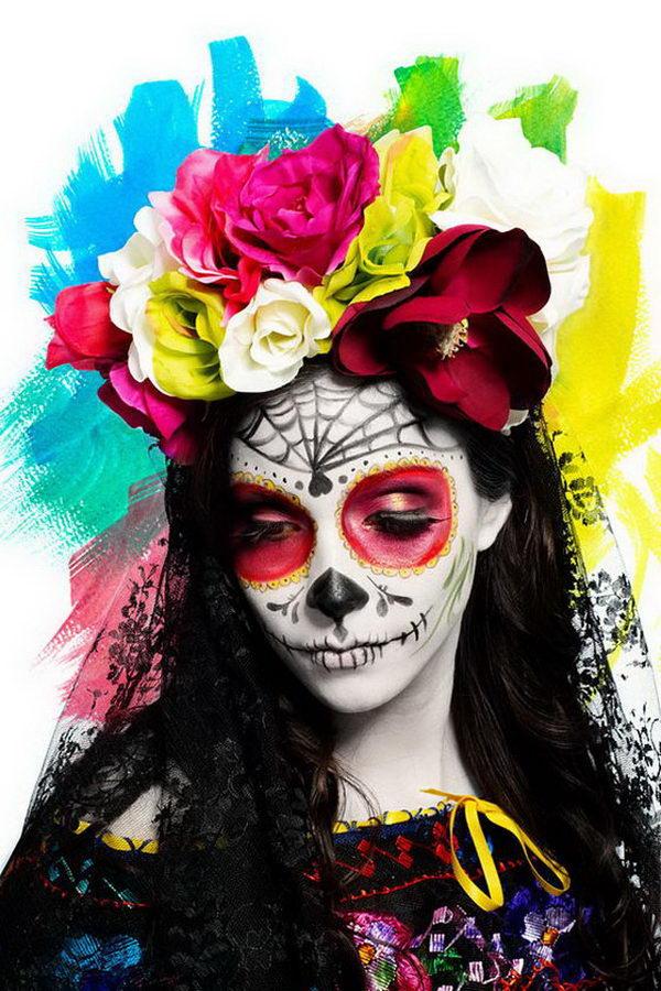 20 Cool D 237 A De Los Muertos Sugar Skull Makeup Art Examples