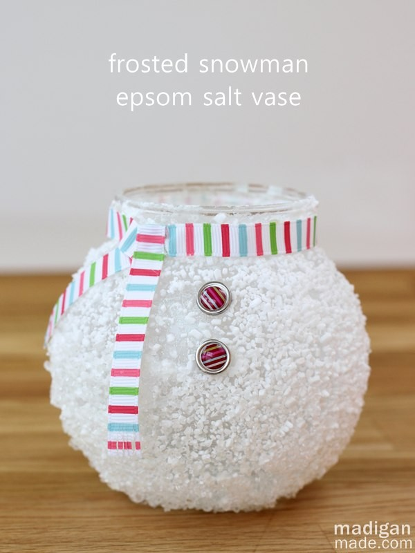 DIY Frosted Snowman Epsom Salt Winter Vase Tutorial | Madigan Made - This epsom salt snowman vase is just too cute! Would be a winter home decor item or used as a great gift for teachers, co-workers filled with candy or such this winter holiday.