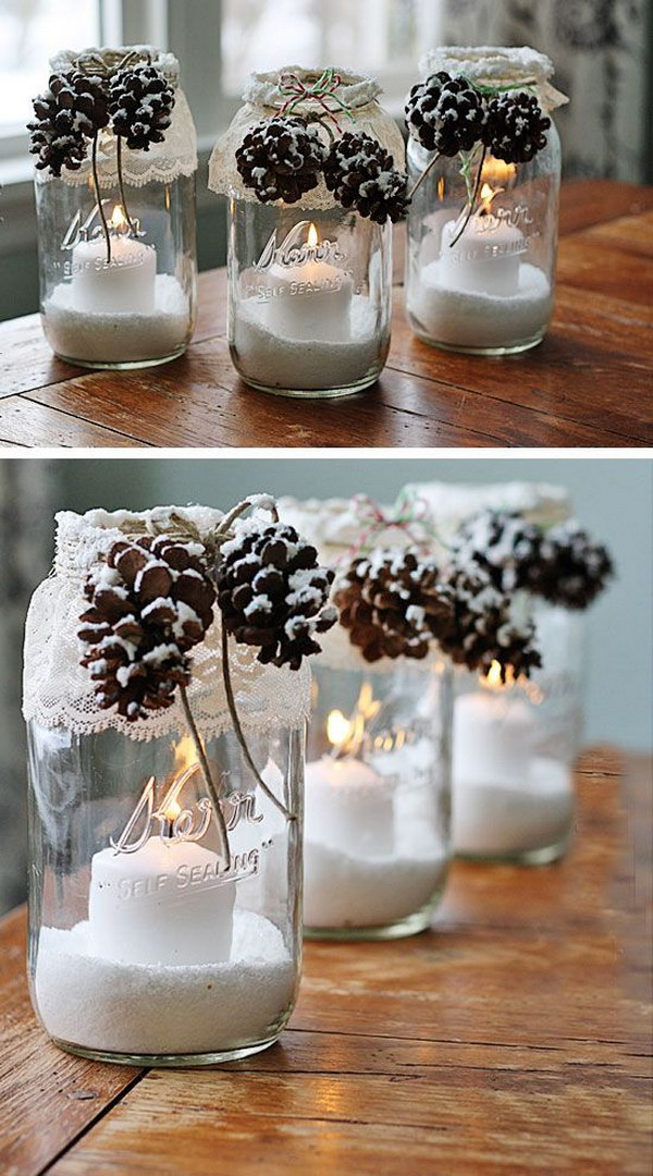 20  Awesome Winter Decorating Ideas   Tutorials 2017 DIY Snowy Pinecone Candle Jar Luminaries