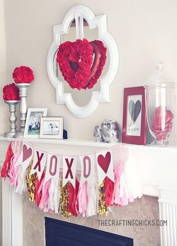 Beautiful Valentines Day Mantel Decorations 2017