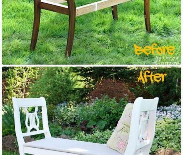 Diy Recycled Chair Garden Bench
