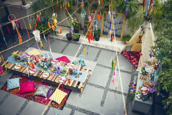 Boho tribal seating arrangement