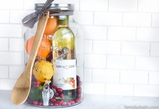 Sangria ingredients in a jar