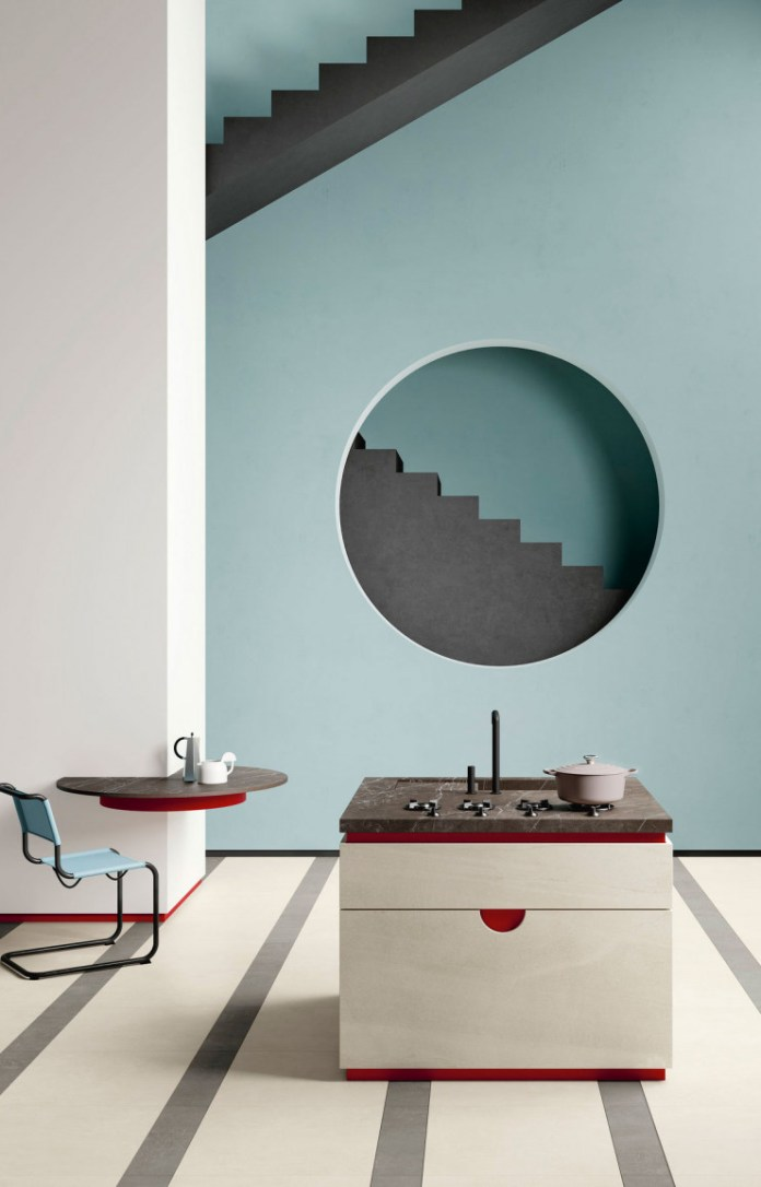 Kitchen made with self-cleaning surfaces.