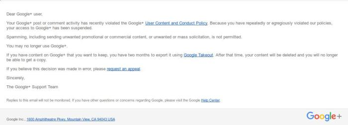 Google email saying I no longer had a G+ account. At all.