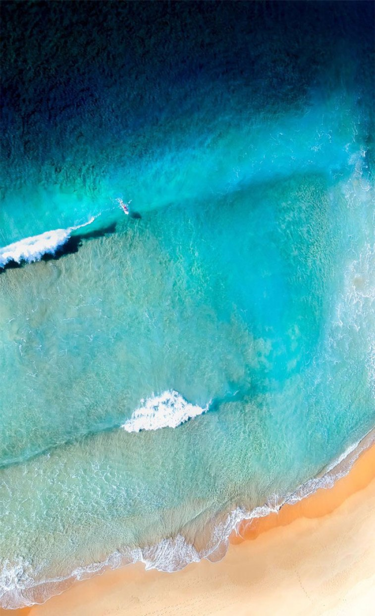 Turquoise Sea Peach Sand Beach iPhone wallpaper