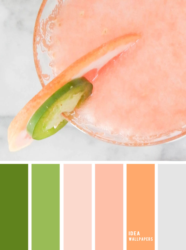 Peach + green + grey color inspiration, peach color palette, colour palette #color #colorpalette