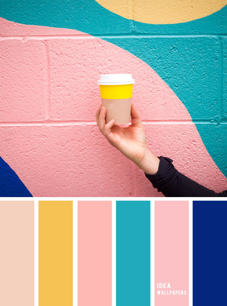 Pink Teal Cobalt Blue Yellow Taupe Pink And Teal Colour