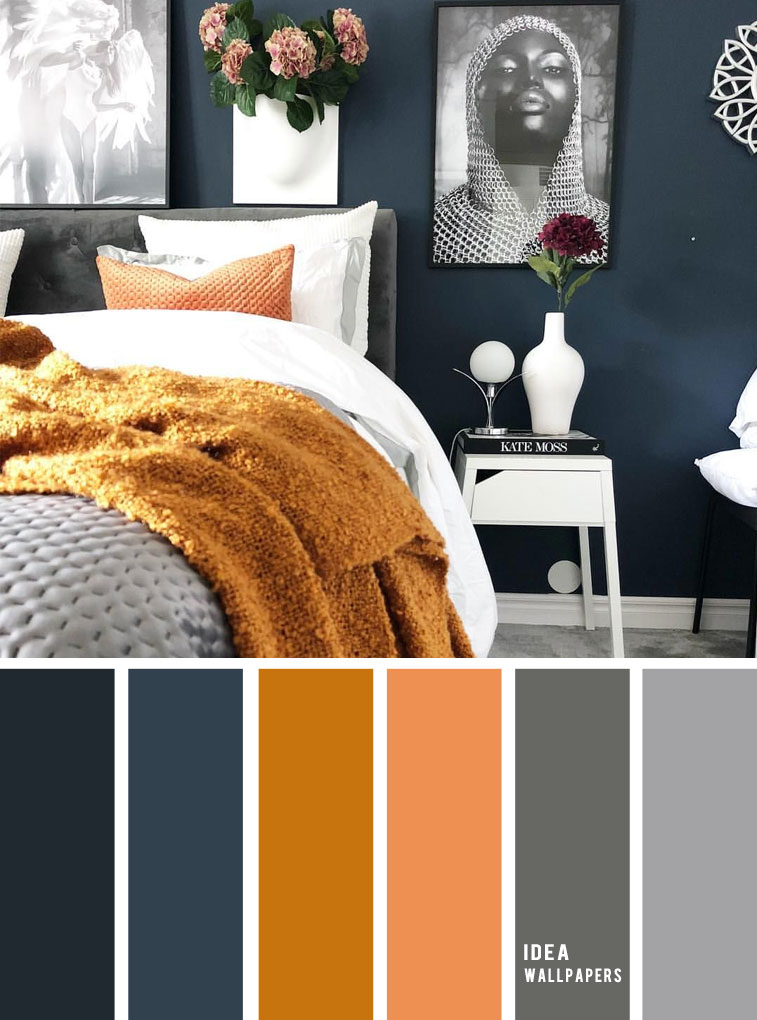 10 Best Color Schemes for Your Bedroom { Navy Blue + Dark Grey + Golden Wheat } bedroom color ideas , navy blue mustard #colors #colorscheme