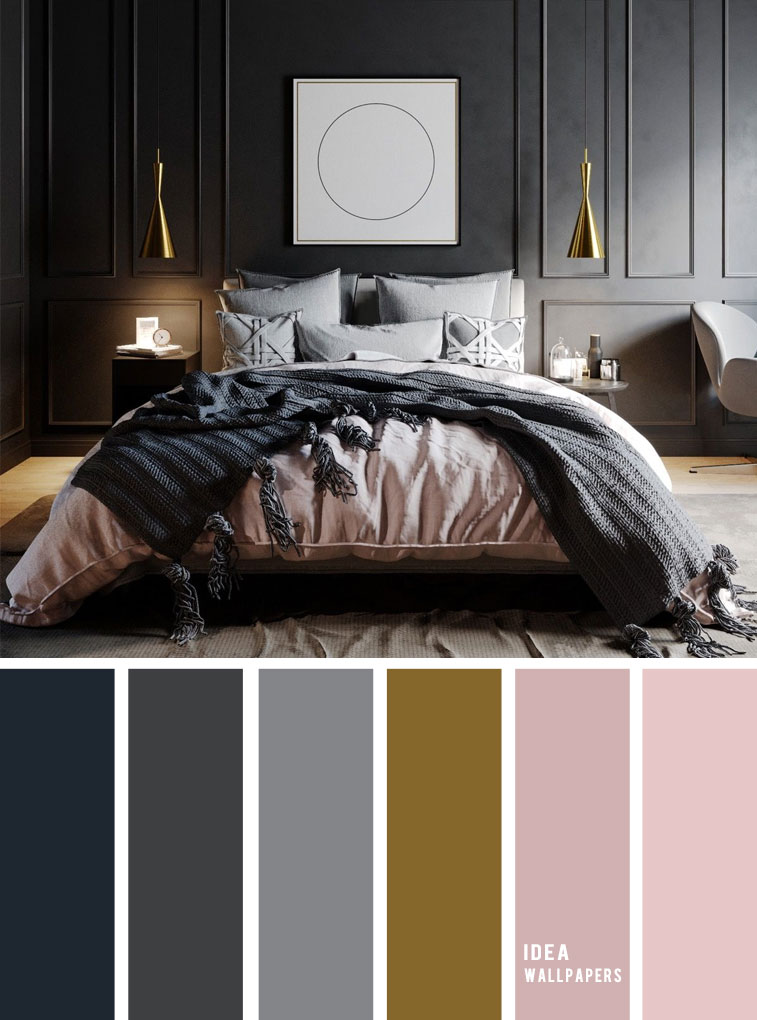 10 Best Color Schemes for Your Bedroom { Dark Grey + Mauve }, grey color palette, colour palette #color #colorpalette