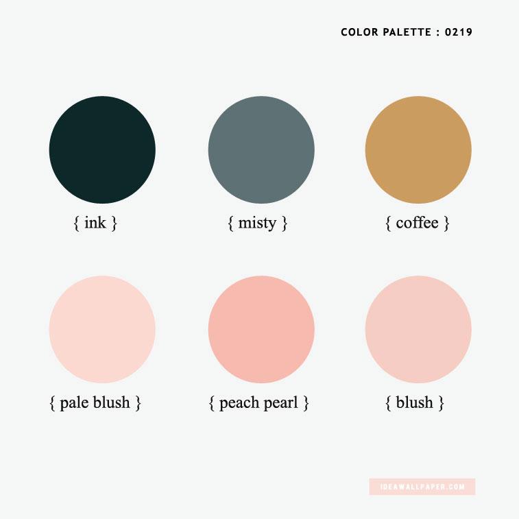 Color inspiration : ink + brown + misty + blush #color #pantone #colorinspiration color palette