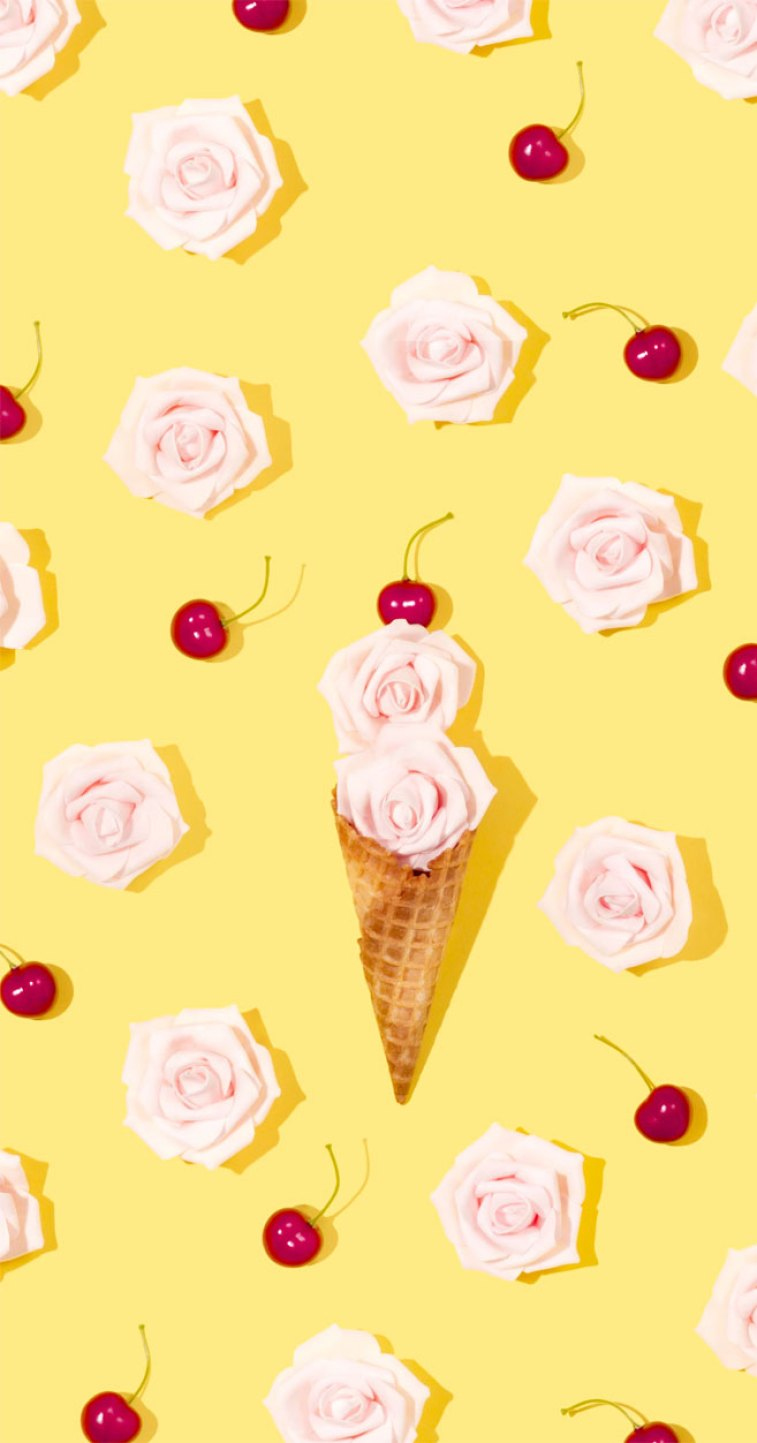 Ice cream cone and roses with cheerful yellow background #yellow #color #wallpaper #background #roses